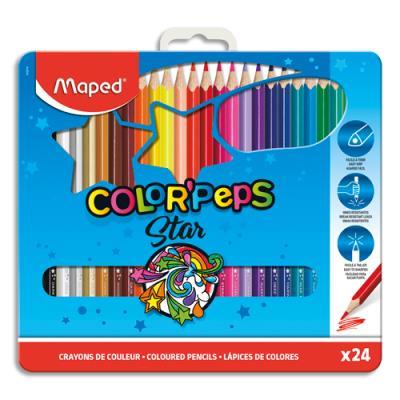 Boîte métallique de 24 crayons Maped - coloris  assortis (photo)