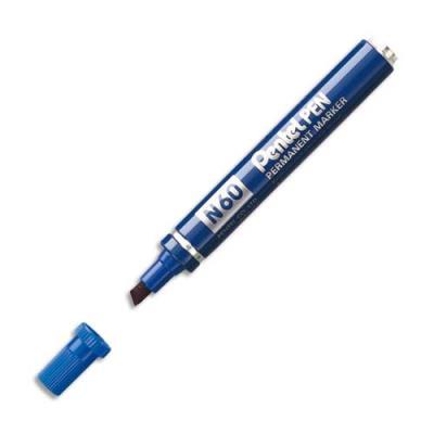 Marqueur permanent Pentel N60 - corps métal - pointe biseautée bleue