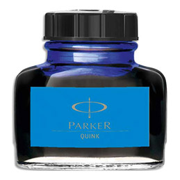 Flacon d'encre bleue Parker Quink (photo)