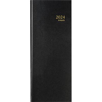 Agenda 2019 de bureau journalier long Brepols - 14 x 35 cm - réglure euros et centimes - noir (photo)