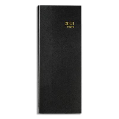 Agenda 2020 journalier Banquier Brepols - 15 x 34 cm - noir (photo)
