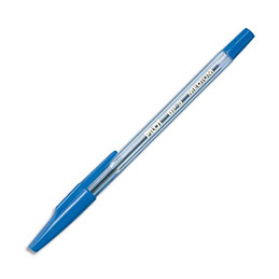 Stylo à bille Pilot BP-S - pointe moyenne - corps plastique cristal avec capuchon - bleu