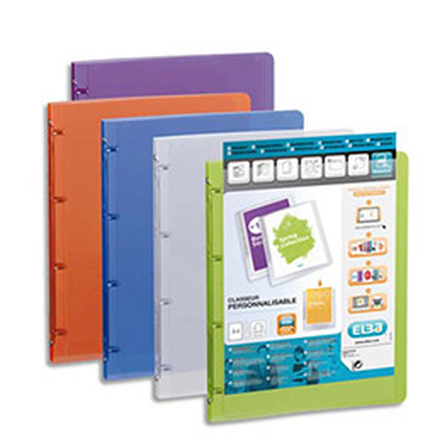 Classeur personnalisable 1 faceElba Polyvision - 4 anneaux - A4 - dos 3 cm - coloris translucides assortis