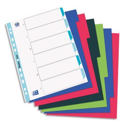 Intercalaires Elba touches neutres - polypropylène 3/10e - A4 - jeu de 6 - coloris opaques assortis
