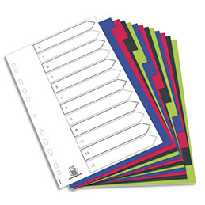 Intercalaires Elba - polypropylène souple 3/10e - A4 - jeu de 12 - coloris opaques assotis