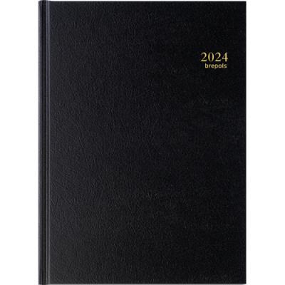 Agenda 2020 de bureau journalier Brepols Bremax 2 - 8 personnes - A4 - 1 jour sur deux pages  - noir (photo)