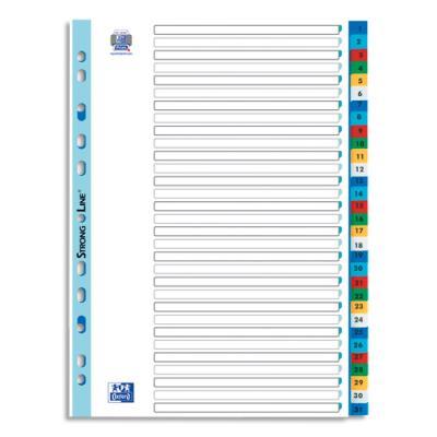 Intercalaires numérique Elba - polypropylène 12/100e - A4 - 31 positions - coloris assortis