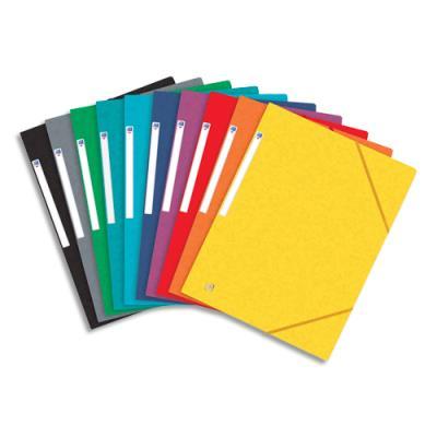 Chemise 3 rabats et élastique Elba Top File - carte lustrée 5/10e - 24 x 32 cm - assortis 9 couleurs