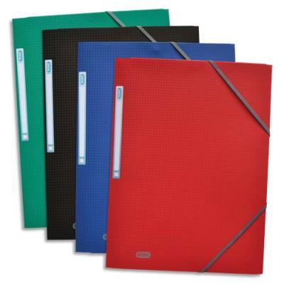 Chemise 3 rabats à élastiques Elba - polypropylène 5/10ème - 24 x 32 cm - coloris assortis : bleu, noir, rouge et vert (photo)