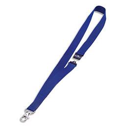 Boîte de 10 lacets textile pour badge - avec mousqueton - bleu - 44 cm (photo)