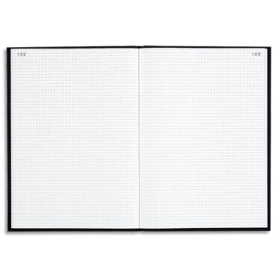 Registre toile Le Dauphin - couverture noire - 22.5x35 cm - 200 pages - quadrillé 5x5
