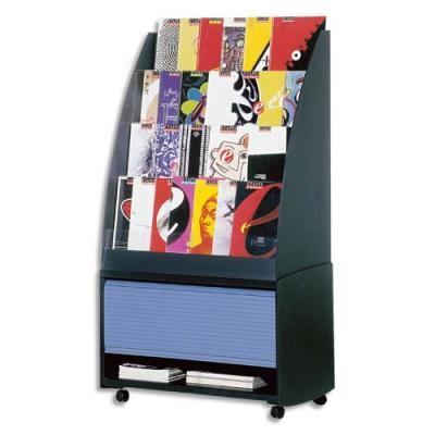Réserve de rangement élément bas pour présentoir accueil - coloris noir/bleu - 33.5 x 71.7 x 38 cm