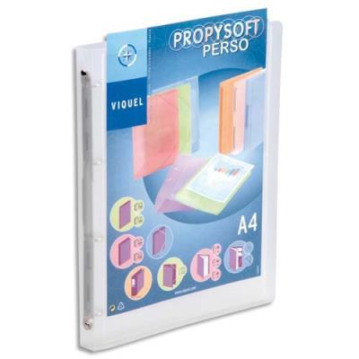Classeur personnalisable 1 face Propysoft en polypropylène - dos 2 cm - A4 - 4 anneaux - incolore