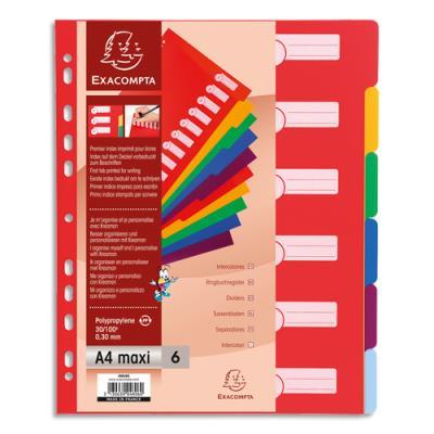 Intercalaires touches neutres Exacompta - polypropylène - A4 + - jeu de 6 - coloris assortis pastels