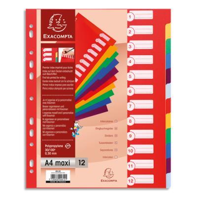 Intercalaires touches neutres Exacompta - polypropylène - A4+ - jeu de 12 - coloris assortis pastels