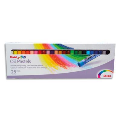 Boîte de 25 pastels Pentel diamètre 8 mm (photo)