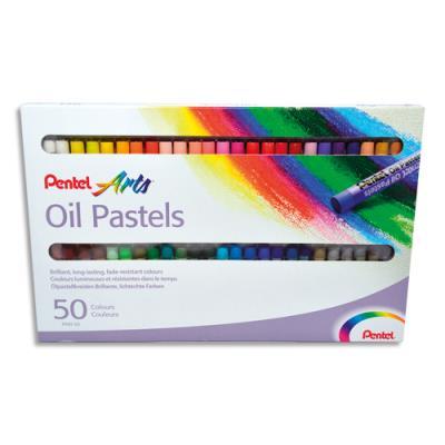 Boîte de 50 pastels à l'huile Pentel diamètre 8 mm (photo)