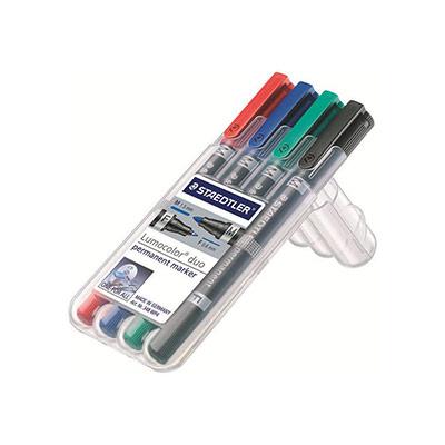 Etui rigide STAEDTLER de 4 marqueurs lumocolorpermanent duo double pointe - coloris assortis (photo)