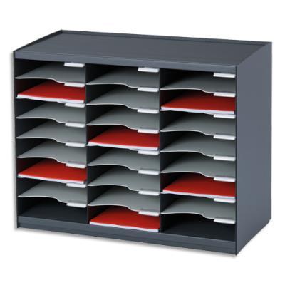 trieur courrier monobloc evolution 24 cases pour document a4 coloris noir gris achat pas. Black Bedroom Furniture Sets. Home Design Ideas