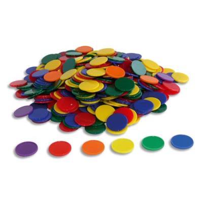 Lot de 500 jetons en plastique, 6 couleurs assorties (photo)
