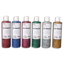 Gel pailleté - Boîte de 6 x 125ml - Artplus - couleurs assorties (photo)