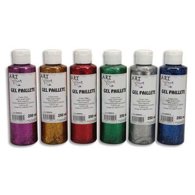 Gel pailleté - Boîte de 6 x 125ml - Artplus - couleurs assorties