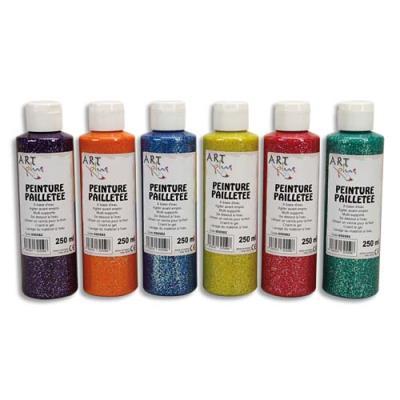 Gouache pailletée - Boîte de 6 x 125ml -  Artplus - couleurs assorties