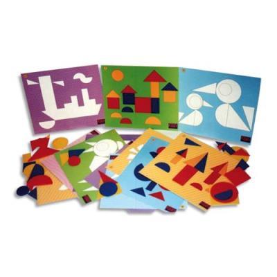 Jeu Logicolor formes géométriques, 9 cartes et plus de 100 pièces couleurs et formes assorties (photo)