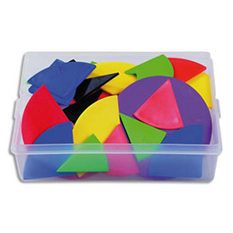 Coffret contenant 51 sets de fractions en plastique souple couleurs assorties (photo)