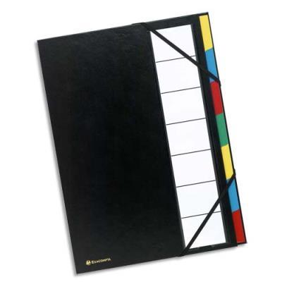 Trieur de bureau Exacompta - 7 compartiments - couverture balacron - format 24,3x32,8 cm - noir