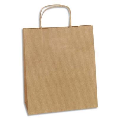 Sac Kraft haute résistance - 24 x 28 cm - soufflet de 11 cm - brun - colis de 100 sacs (photo)