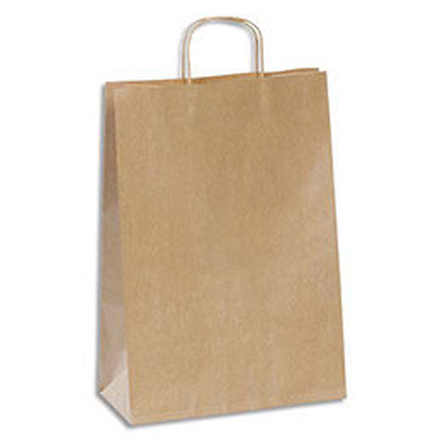 Sac Kraft poignées torsadées haute résistance - 29 x 42 cm - soufflet 14 cm - brun - Colis de 100 sacs (photo)