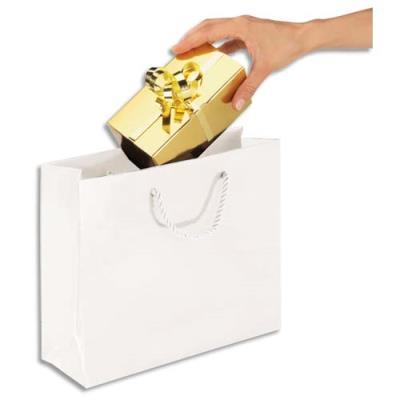 Sac pelliculé - 30 x 25 cm - soufflet de 10 cm - blanc - paquet de 25 sacs (photo)