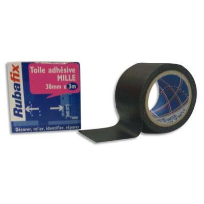Toile adhésive Rubafix plastifiée et imperméable rouleau de 38mmx 3m - noir