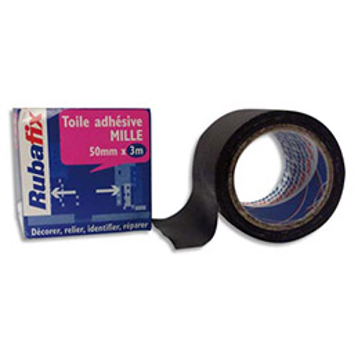 Toile adhésive Rubafix plastifiée et imperméable rouleau de 50mmx 3m - noir