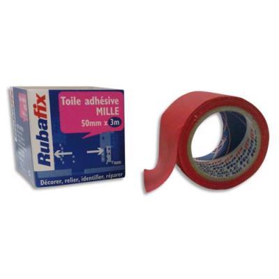 Toile adhésive Rubafix plastifiée et imperméable rouleau de 50mmx 3m - rouge