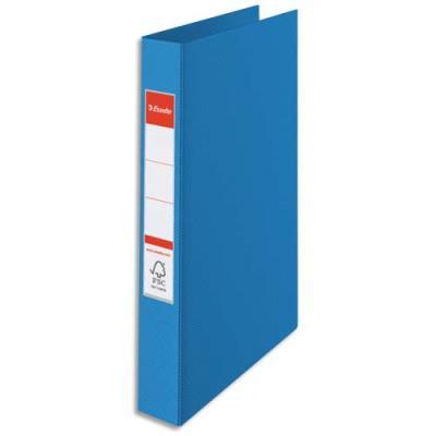 Classeur 4 anneaux Esselte - couverture rigide polypropylène - dos 3,5 cm - A4 - bleu (photo)