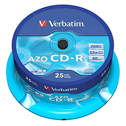 CD-R Verbatim - 700 mo - 80 min - tour de 25 (photo)