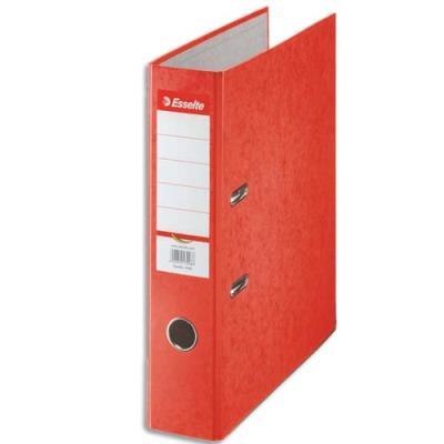Classeur à levier en carton Esselte Rainbow - A4 - dos de 8 cm - rouge