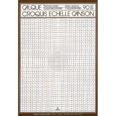 Bloc de papier calque Canson - croquis échelle - 50 feuilles - 90g - A4 - Réf : 17143 (photo)