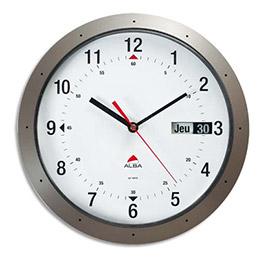 Horloge murale mouvement quartz Horday avec dateur - diamètre 30 cm - gris anthracite (photo)