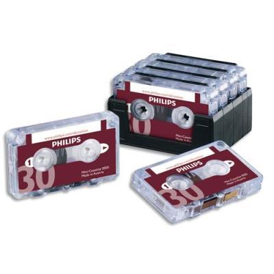 Lot de 10 mini-cassette Philips pour machine à dicter 2x15mm LFH717/03