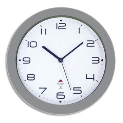 Horloge murale radio Pilotée Alba Hortime - diamètre 30 cm - gris métal (photo)