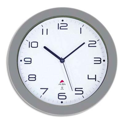 Horloge murale radio Pilotée Alba Hornew - diamètre 30 cm - gris métal (photo)