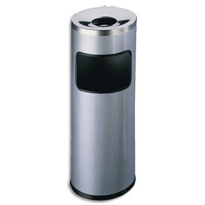 Corbeille à papier métal avec cendrier étouffoir - 17 litres - coloris gris anthracite (photo)
