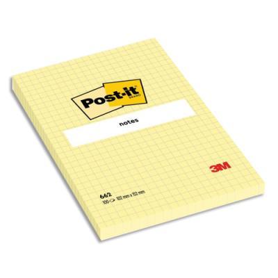 Bloc Notes grand format Post'it - 102 x 52 mm - quadrillé - jaune (photo)