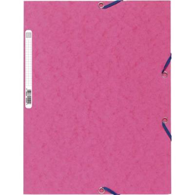 Chemise Exacompta 3 rabats et élastique - carte lustrée 5/10e - 400gr - Format 24x32cm - Coloris fuschia.