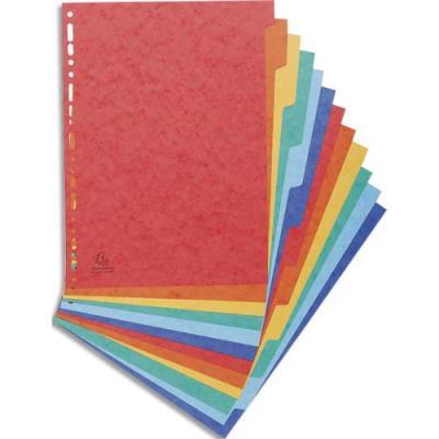 Intercalaires touches neutres Exacompta - carte 225 g - maxi format A4+ 24 x 32 cm - 12 positions - coloris assortis