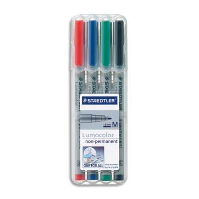 Pochette de 4 feutres rétroprojection Staedtler Lumocolor - pointe moyenne - encre soluble - coloris assortis