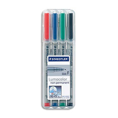 Feutre Staedtler Lumocolor - fin 0.6 mm - soluble - pochette de 4 coloris assortis (photo)